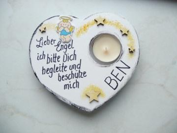 Kerzenleuchter Herz Taufgeschenk Junge  zur Taufe  Namenswunsch Kerzen Teelicht