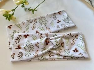 Haarband Waldfreunde Grün Braun Weiß Pilze Eicheln Stirnband Elastisch mit oder ohne Knoten Alle Größen - Handarbeit kaufen