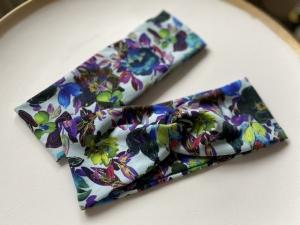 Stirnband Blumenpracht Blau Haarband Elastisch mit oder ohne Knoten - Handarbeit kaufen
