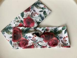 Stirnband Vintage Rote Blüten Rosen Designer Stoff Aquarell Headband Elastisch mit oder ohne Knoten - Handarbeit kaufen