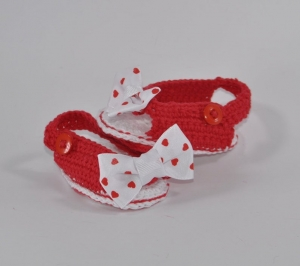 Babyschuhe Peeptoes gehäkelt - Handarbeit kaufen