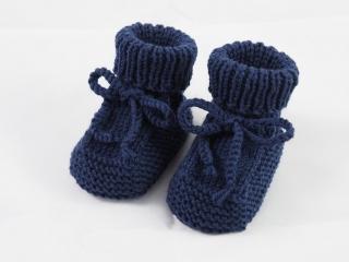 dunkelblaue Babyschuhe 0-3 Monate Booties aus Wolle gestrickt  - Handarbeit kaufen