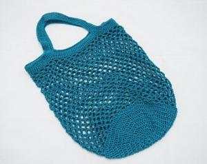 Häkeltasche Einkaufstasche Einkaufsnetz in petrol aus hochwertiger Baumwolle mit Tragegriff von Hand gehäkelt - Handarbeit kaufen