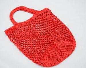 Häkeltasche Einkaufstasche Einkaufsnetz in terracotta aus hochwertiger Baumwolle mit Tragegriff von Hand gehäkelt - Handarbeit kaufen