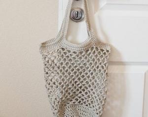 Häkeltasche Einkaufstasche Einkaufsnetz in beige aus hochwertiger Baumwolle mit Schulterriemen gehäkelt
