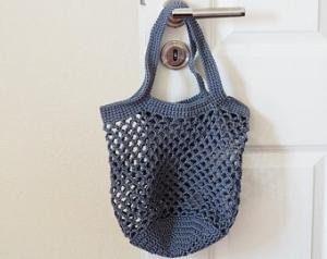 Häkeltasche Einkaufstasche Einkaufsnetz in grau aus hochwertiger Baumwolle mit Schulterriemen gehäkelt - Handarbeit kaufen