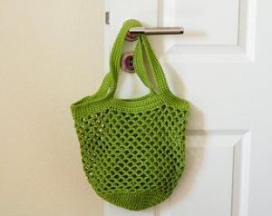 Häkeltasche Einkaufstasche Einkaufsnetz in grün aus hochwertiger Baumwolle mit Schulterriemen gehäkelt - Handarbeit kaufen