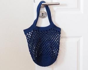Häkeltasche Einkaufstasche Einkaufsnetz in blau aus hochwertiger Baumwolle mit Schulterriemen gehäkelt - Handarbeit kaufen
