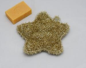 Peelingschwamm Stern in gold von Hand gehäkelt Badeschwamm Massageschwamm Spülschwamm - Handarbeit kaufen