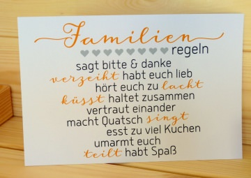 ☆☆ Familien-Regeln ☆☆ Karte 10 x 15 cm