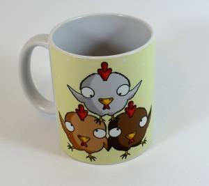 Hühner machen glücklich - Tasse mit Sublimationsdruck