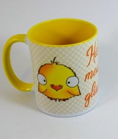 Hühner machen glücklich - Tasse mit Sublimationsdruck  innen gelb