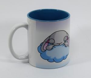 Hase Wolke Lebe deinen Traum - Tasse mit Sublimationsdruck  innen blau