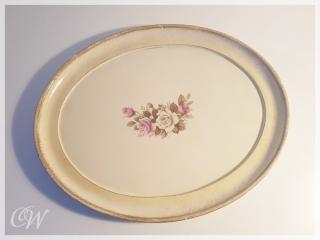 Florentiner Tablett oval floral mit Rosenmotiv in creme