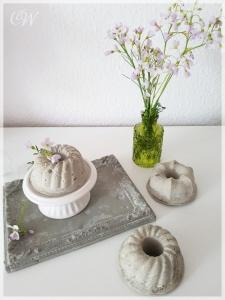 3er Set Minikuchen aus Zement Beton im Shabby-Chic-Look