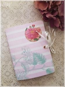 A6 Kleines Notizheft/ 2in1 Notizbuch im Shabby-Chic Stil Seiten weiß