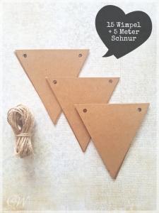DIY Wimpelkette aus Kraftpapier in hübscher Geschenkverpackung zum Selbstgestalten