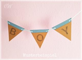 Wimpelkette mit Text individuell gestaltbar mit Namen für Jungen