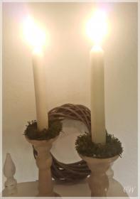 Mini-Mooskranz zur Weihnachtsdeko oder für Kerzenständer als Wachstropfschutz