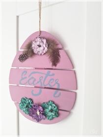 Holzschild rosa Osterei mit Schriftzug