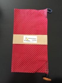 Bienenwachsbeutel Lunchbag XL rot mit weiße Punkte mit Knebelverschluss, Brotbeutel 100% Bienenwachs und Baumwolle - Handarbeit kaufen