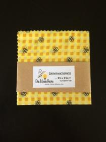 Bienenwachstuch gelb Karo mit Blümchen 100% Bienenwachs und Baumwolle