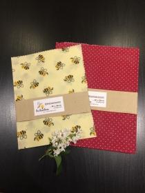 Bienenwachstuch Set Bienen + Rote Punkte 100 % Bienenwachs und Baumwolle - Handarbeit kaufen