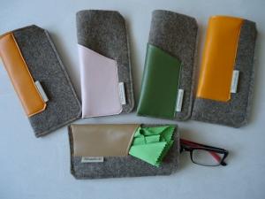 Brillenetuis aus Wollfilz und Nappalederimitat, verschiedene Farben (Kopie id: 100123532) (Kopie id: 100126202)