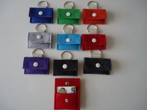 Kinder Portemonnaie, Mini Portmonee mit Schlüsselring, Filz - Leder - Handarbeit kaufen