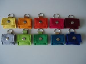 Einkaufschip Täschchen mit Schlüsselring, Filz+Leder+Metall - Handarbeit kaufen