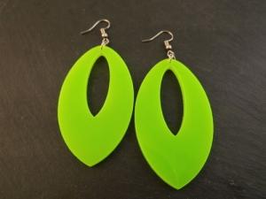 Ohrringe XXL Oval Neon Grün Vintage 80er Jahre Acryl Handmade kaufen  - Handarbeit kaufen