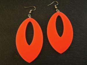 Ohrringe XXL Oval Neon Orange Vintage 80er Jahre Acryl Handmade kaufen - Handarbeit kaufen