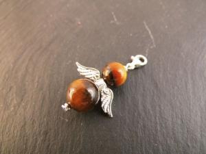 Perlenengel Anhänger 925 Echt Silber Engel Tigerauge Schutzengel Kettenanhänger Charms  - Handarbeit kaufen