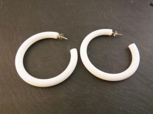 Vintage Ohrringe Creolen Ohrstecker weiß 80er Retro - Handarbeit kaufen