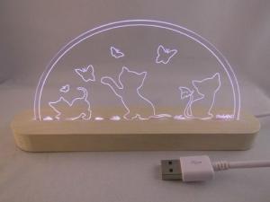 Mini LED Schwibbogen Katzenmotiv spielend Cat Katze Motivlampe Leuchterbogen Nachtlicht - Handarbeit kaufen