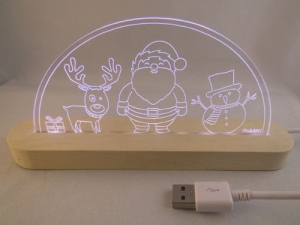 Mini LED Schwibbogen Weihnachtsmotiv Christmas Weihnachtsmann Motivlampe Leuchterbogen Nachtlicht  - Handarbeit kaufen