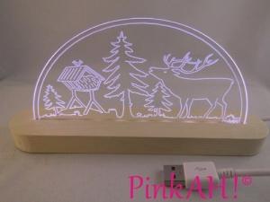 Mini LED Schwibbogen Waldmotiv Motivlampe Leuchterbogen Nachtlicht Stehlampe - Handarbeit kaufen