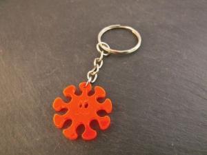 Schlüsselanhänger Virus Männergrippe Neon Orange Rot fluoreszierend Taschenbaumler - Handarbeit kaufen