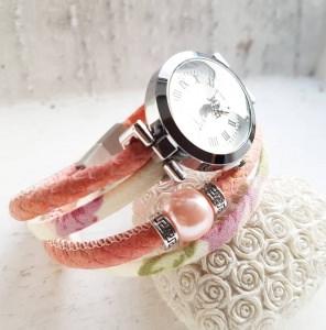 NEUE Collection - Ihr Outfit am besten zusammen kombiniert mit meinem Wickelarmband & Uhr - lachsfarbene Rund-Ledervariante mit Stoffband & Glanzlook-Perle zu einem trendigen Armba