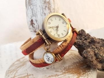 Handmade KORK - Wickelarmband - NEUE Collection - Absolutes Einzelstück -  kombiniert mit Uhr und Barock Design mit zartem Cabochon Motiv & Schiebeelmenten - Bronzefa