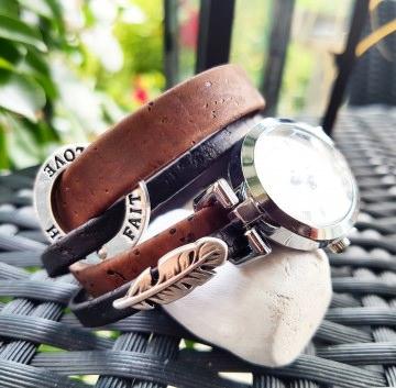 NEUE Collection - Absolutes Einzelstück - Handmade KORK - Wickelarmband kombiniert mit Uhr und Barock Design mit zartem Cabochon Motiv & Schiebeelmenten