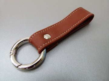 Schlüsselanhänger in Leder ohne Namen und Rund-Karabiner