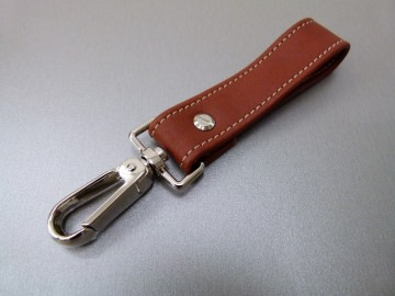 Schlüsselanhänger in Leder ohne Namen und Karabiner groß