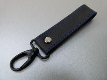 Schlüsselanhänger in Leder ohne Namen und Karabiner klein / schwarz
