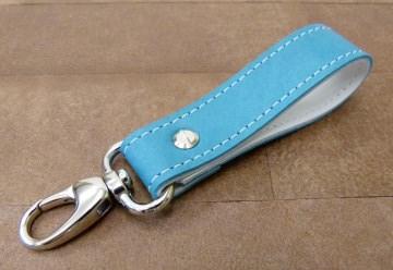 Schlüsselanhänger in Leder zweifarbig und Karabiner klein