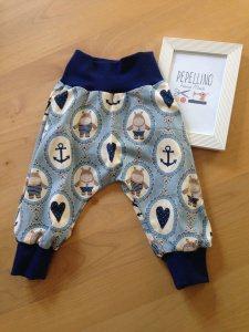 Babyhose / Pumphose Gr. 56 - 68  mit Nilpferdchen und Anker  -blau-
