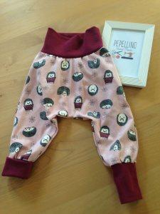 Babyhose / Pumphose Gr.  68  - rosa, mit kleinen Igeln