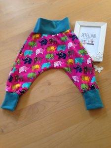 Babyhose / Pumphose  Gr. 56 -68  pink, mit bunten Elefanten
