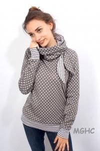 ♥︎Pulli COCO liebevoll von Hand genäht aus hochwertigen Feinstrick mit Punkten und Streifen Taupe Damen  in Grösse S/M/L/XL  bestellen ♥︎