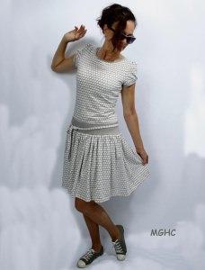 Kleid Marie hellgrau traumhaftes Sommerkleid im Blumenmuster aus Baumwolljersey in Gr. XS-XL  bestellen